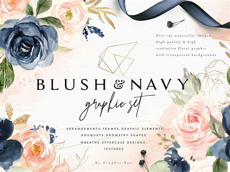 Blush & Navy-Watercolor Graphic Set by Graphic Assets on