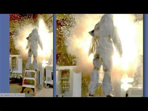 40 CAL Arc Flash Suit - Explosion test on ladder - YouTube